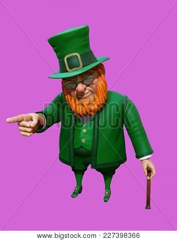 Funny Leprechaun In Green Suit And Hat Pointing With His Finger. 3d Illustration
