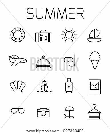 Summer Related Vector Icon Set. Well-crafted Sign In Thin Line Style With Editable Stroke. Vector Sy