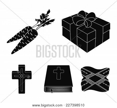 Cross, Bible, Gift And Carrots.easter Set Collection Icons In Black Style Vector Symbol Stock Illust
