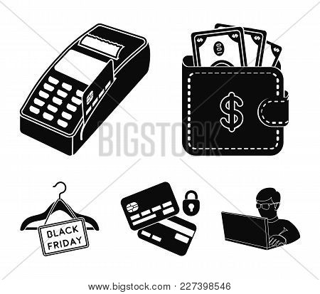Purse, Money, Touch, Hanger And Other Equipment. E Commerce Set Collection Icons In Black Style Vect