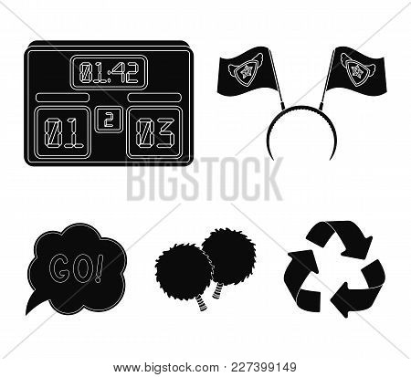 Hoop With Flags And Other Attributes Of The Fans.fans Set Collection Icons In Black Style Vector Sym