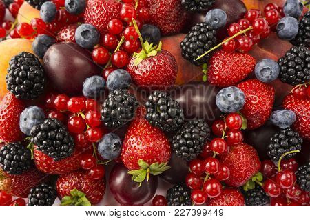Ripe Blackberries, Blackberries, Strawberries, Red Currants, Peaches And Plums. Mix Berries And Frui