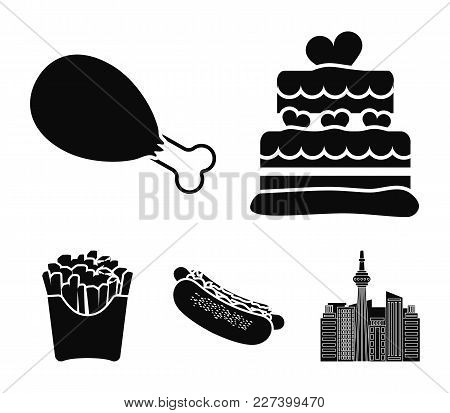 Cake, Ham, Hot Dog, French Fries.fast Food Set Collection Icons In Black Style Vector Symbol Stock I