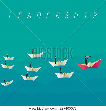 Businessman With Monocular On Paper Boat As A Symbol Of Business Leadership. Vector Illustration. Ep