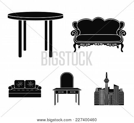 Sofa, Armchair, Table, Mirror .furniture And Home Interiorset Collection Icons In Black Style Vector