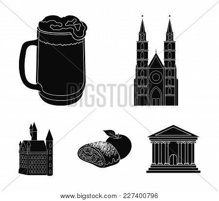 Architecture, Building, Cathedral, And Other  Icon In Black Style.germany, History, Cooking, Icons I