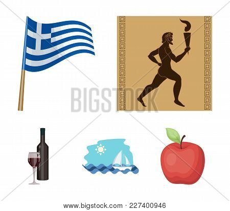 Greece, Running, Wine, Flag .greece Set Collection Icons In Cartoon Style Vector Symbol Stock Illust