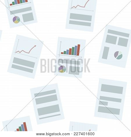 Blue Office Business Sheets Of Paper With Graphs And Articles On White Background Seamless Pattern