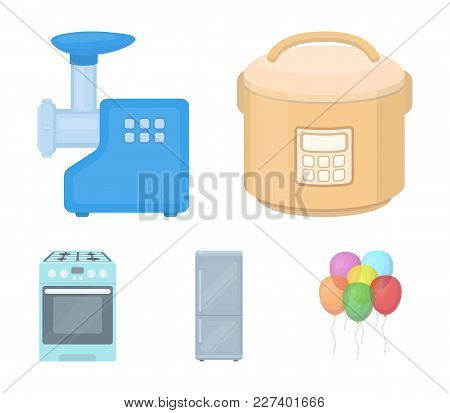 Multivarka, Refrigerator, Meat Grinder, Gas Stove.household Set Collection Icons In Cartoon Style Ve