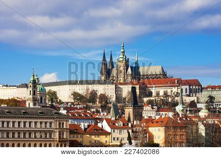 Prague Castle And Saint Vitus Cathedral At Sunny Day, Czech Republic