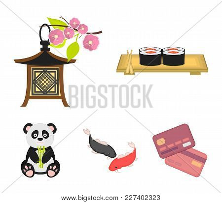 Sushi, Koi Fish, Japanese Lantern, Panda.japan Set Collection Icons In Cartoon Style Vector Symbol S