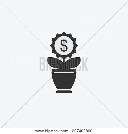 Money Flower, Tree Isolated Flat Web Mobile Icon. Vector Graphic Illustration. Logotype, Logo