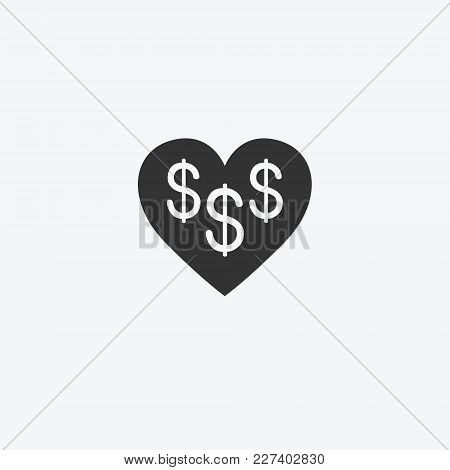 Love For Money, Dollars Isolated Flat Web Mobile Icon. Vector Graphic Illustration. Logotype