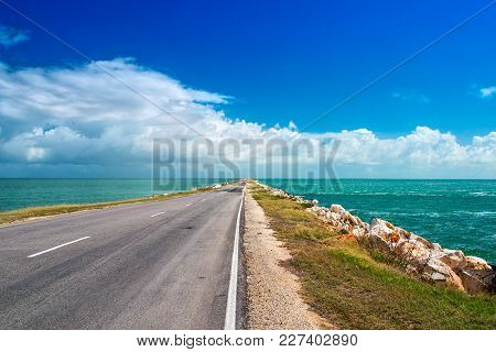 Road Highway Route Leaving In Ocean Bulk Man-made Artificial Dam From Island Of Cuba To Cayo Guiller