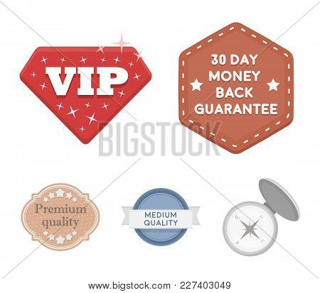 Money Back Guarantee, Vip, Medium Quality, Premium Quality.label, Set Collection Icons In Cartoon St