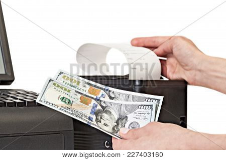 Payment For Purchases In The Store By Cash. Receipt Printer With Paper Shopping Bill . Point Of Sale