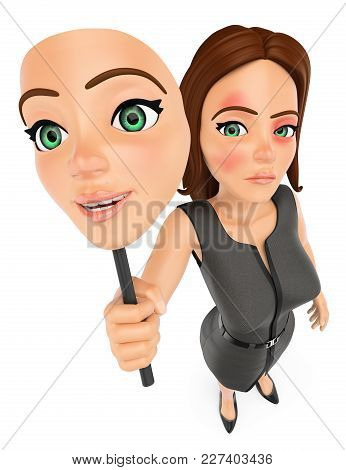3D Business Woman Removing Her Mask. Abuse. Gender Violence
