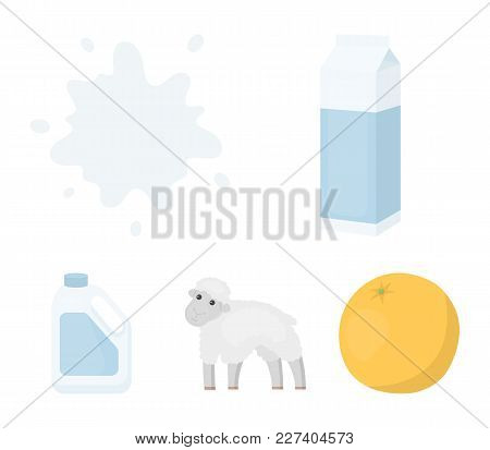 Billet Pack, Sheep.blue, Canister.moloko Set Collection Icons In Cartoon Style Vector Symbol Stock I