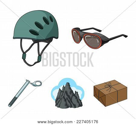 Helmet, Goggles, Wedge Safety, Peaks In The Clouds.mountaineering Set Collection Icons In Cartoon St