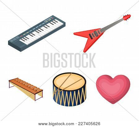 Musical Instrument Cartoon Icons In Set Collection For Design. String And Wind Instrument Isometric