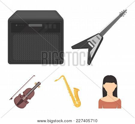 Electric Guitar, Loudspeaker, Saxophone, Violin.music Instruments Set Collection Icons In Cartoon St