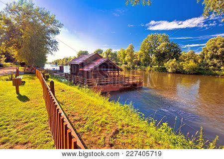 Old Watermill On Mura River View, Medjimurje Region Of Croatia
