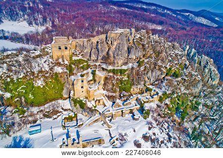 Kalnik Mountain Winter Aerial View, Fortress On Cliff, Prigorje Region Of Croatia