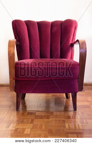 Red Art Deco Retro Chair In Empty Room