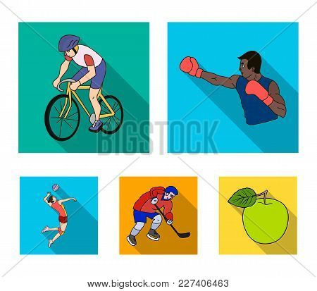 Cycling, Boxing, Ice Hockey, Volleyball.olympic Sport Set Collection Icons In Flat Style Vector Symb