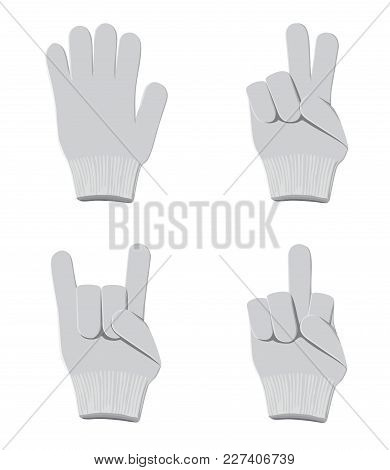 Different Positions Of Fingers Of Gloves On A White Background