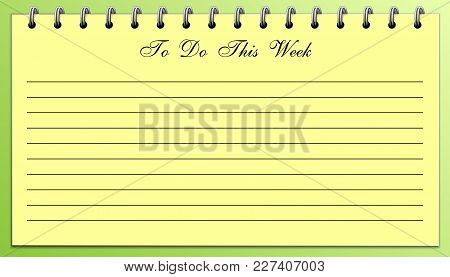 To Do List For This Week Yellow On Green, Business Concept
