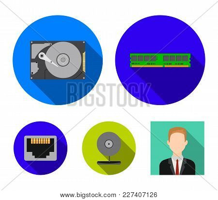 Webcam, Memory Card, Hard Drive, Connector. Personal Computer Set Collection Icons In Flat Style Vec
