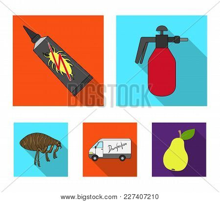 Flea, Special Car And Equipment Flat Icons In Set Collection For Design. Pest Control Service Vector