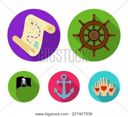 Pirate, Bandit, Rudder, Flag .pirates Set Collection Icons In Flat Style Vector Symbol Stock Illustr