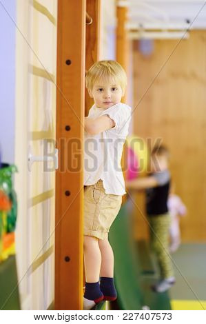 Active Preschool Boy During Lesson In Indoor Sports Hall/gym Class. Kids Active Game. School Sport F