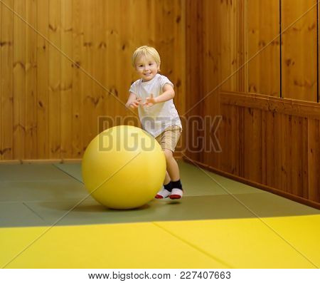 Active Preschool Boy Playing With Big Ball In Indoor Sports Hall. Kids Active Game. School Sport For