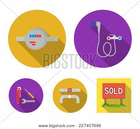 Shower, Faucet, Water Meter And Other Equipment.plumbing Set Collection Icons In Flat Style Vector S
