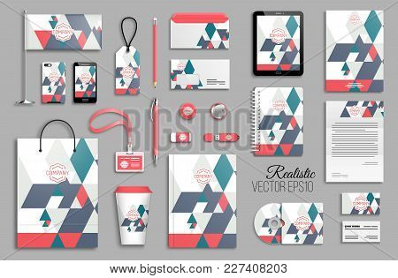 Corporate Identity Template Set. Business Stationery Mock-up With Logo. Branding Design. Colorful Ge