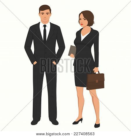 Vector Illustration Of Business People Businessman And Businesswoman. Man, Woman Standing Characters