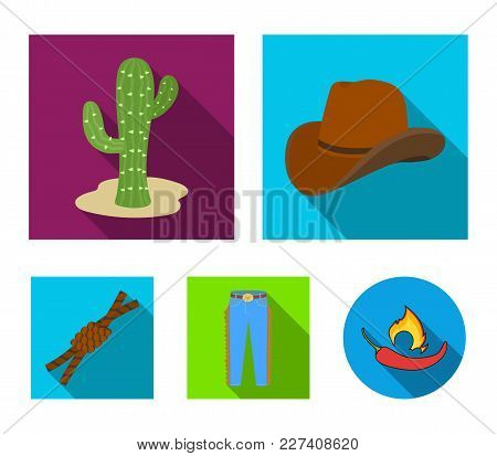 Hat, Cactus, Jeans, Knot On The Lasso. Rodeo Set Collection Icons In Flat Style Vector Symbol Stock
