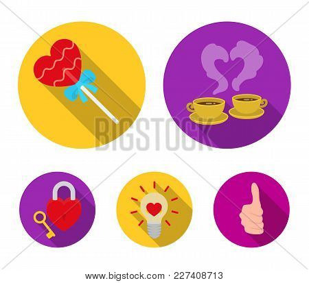 Cups With Coffee, Valentine, Lamp, Lock With Key. Romantic Set Collection Icons In Flat Style Vector