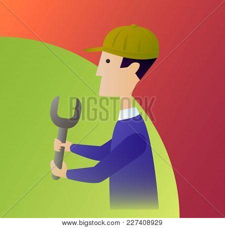 Cartoon Plumber Or Auto Repair Mechanic Service Handyman Worker Man Holding A Wrench