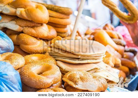 Fresh Traditional Jewish Pastry - Buns, Challah, Pitta Bread For Shabbat On Tel Aviv Marketplace. Se