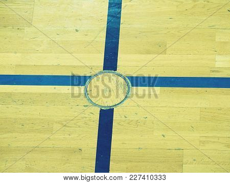 Crossed Lines And Steel Locked Cover For Training Equipment. Renewal Wooden Floor Of Sports Hall Wit