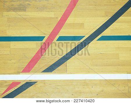 Basketball Hall Indoor Wood Parquet Field Room. Empty Sporting Hall