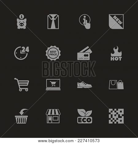 Shopping Icons - Gray Symbol On Black Background. Simple Illustration. Flat Vector Icon.