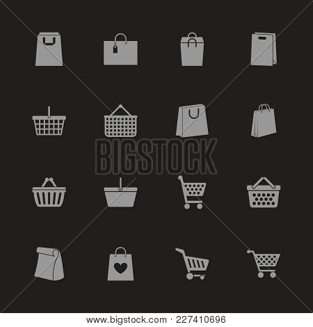 Shopping Bags Icons - Gray Symbol On Black Background. Simple Illustration. Flat Vector Icon.