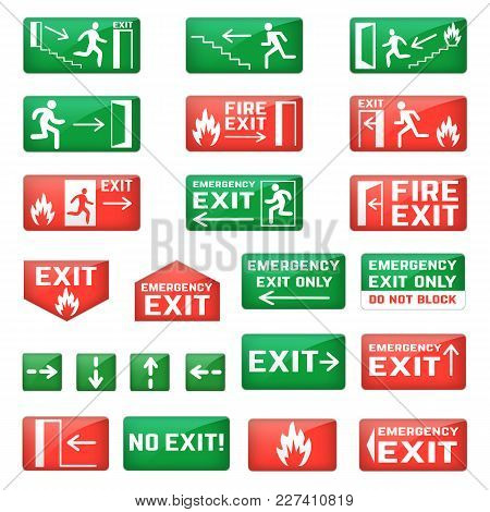 Exit Vector Emergency Exit Sign And Fire Escape Point With Green Arrows For Safety Evacuation And Ex