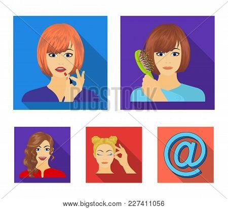 Hairdresser, Cosmetic, Salon, And Other  Icon In Flat Style.means, Hygiene, Care Icons In Set Collec