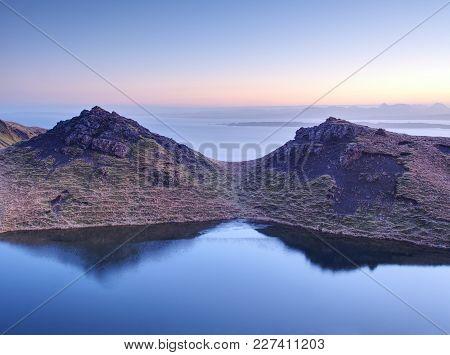 Landscape View Of Mountain Lake.  Isle Of Skye,  Scottish Highlands ,united Kingdom